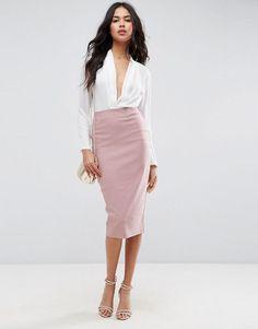 High Waist Longerline Pencil Skirt. Dress CodesAsosTube SkirtStretch Fabric Fashion TrendsWomens FashionSlacksWork WearWomen s Skirts c0c2d0e2b530