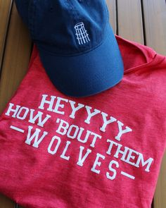 """How 'bout them wolves? This comfy, red v-neck is part of our new """"We've Got Spirit"""" collection & is just what you need to rep the Wolves in the City of Dreams! Georgia College, Southern Outfits, College Outfits, Home And Away, Wolves, Cheerleading, University, V Neck, Dorm Ideas"""