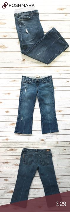 """PAIGE Distressed Laurel Canyon Capri Jeans Distressed jeans from Paige. These were hemmed into capris. Inseam 21.5"""". Waist 16.25"""". Rise 8"""". Leg opening 8.25"""" across. Cotton and Lycra. PAIGE Jeans Ankle & Cropped"""