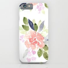 Large Watercolor Floral Pattern - Watercolor Flower Pattern - Blush, Navy & Green Watercolor Flowers iPhone & iPod Case by Blushed Design | Katrina. Worldwide shipping available at Society6.com. Just one of millions of high quality products available.