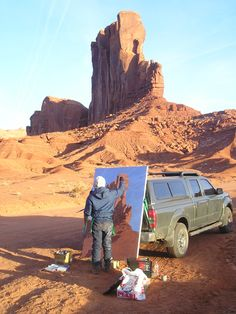 """Andrew Paquette plein air painting Camel Butte in Monument Valley, Utah. Acrylic on canvas 48"""" x 72"""""""