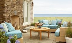 Fieldledge is a hybrid of horizontally oriented fieldstones and ledge stones with heights from to and lengths from to The stone's old Outdoor Sofa, Outdoor Living, Outdoor Furniture Sets, Outdoor Decor, Bedroom Fireplace, Fireplace Wall, Eldorado Stone, Garden Retaining Wall, Assisted Living