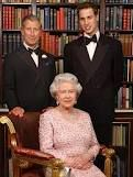 Queen Elizabeth II with the heirs to the throne. Her son, Prince Charles, is next in line. Then comes Charles and Diana's son, Prince William.