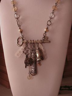 RESERVED LISTING - Upcycled Jewelry - Sewing - Seamstress - Skeleton Key with Sterling Vintage Sewing Notions, Buttons, Treadle Key and Lace on Etsy, $179.00