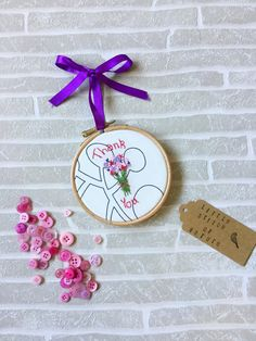 Need to say thankyou to a loved one ? Dont want to just buy them flowers or chocolates ? Get them one of these beautiful embroidery hoops, they can hang it at home and keep it forever as a lovely memory ! ✿ How are the bunch of flowers created? ✿  I created the text and flower design by eye, using freehand machine embroidery. After looking at a sketch, I use my trusty sewing machine as my drawing tool, with the tiny stitches acting almost like paint or ink ! There are 2 fabric choices…