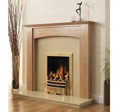Stretton Wooden Fireplace Package with Pureglow Bauhaus Gas Fire