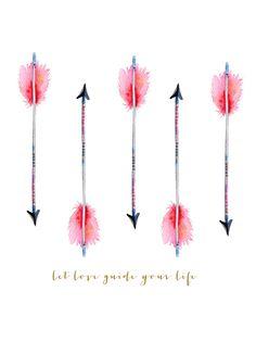 Boho arrow watercolor  Art Print
