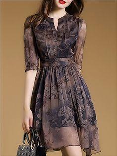 Floral Imprint Chiffon Short Day Dress