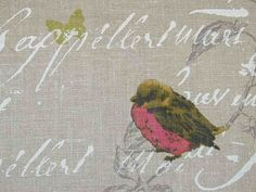 French Bird Fabric | Curtain Fabric | Upholstery Fabric | Garden Birds Script Natural