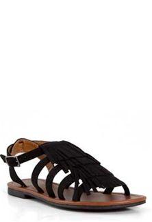 City Classified Black Tuscan Fringe Sandal