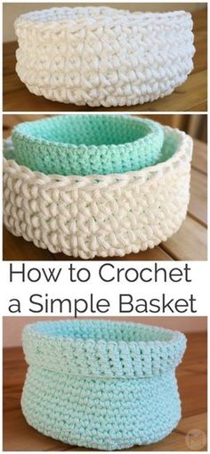 crochet bowl Hey Everyone! Today I'd like to show you how to make this easy crochet basket. Crochet Bowl, Crochet Diy, Easy Crochet Projects, Crochet Gifts, Simple Crochet, Crochet Ideas, Learn Crochet, Kids Crochet, Chunky Crochet