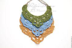 Купить Колье из льна вязаное ажурное, три цвета зеленое синее желтое лен бохо