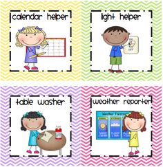 picture of line leader for a preschooler helper chart: Here s a set of classroom job cards for use in a pocket chart