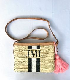 Classic Anchor /& Stripes Classic Tote Purse w//Leather Trim Front Personalized