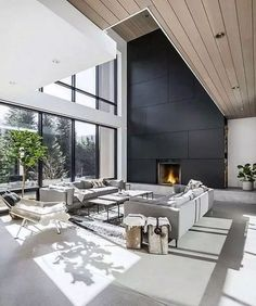 High ceilings black cladding timber my Sunday interior happiness Living room go. High ceilings black cladding timber my Sunday interior happiness Living room go… Contemporary Interior Design, Modern House Design, Contemporary Homes, Contemporary Furniture, Interior Design For House, Modern Homes, Contemporary Living Room Designs, Room Interior, Modern Home Interior