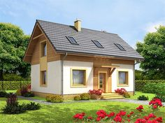 projekt Cynamon WOF1032 Dome House, Village Houses, Wooden House, Cottage Homes, Traditional House, House Colors, Simple House, Interior And Exterior, Gazebo