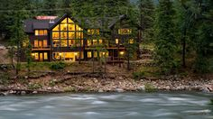 A view of White Water Lodge from across the Icicle River