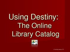If you use Follett Destiny in your library for the library catalog this is a nice little introduction powerpoint how-to to using Destiny for your students. Make sure you check out Xist Publishing titles available from Follett! School Library Lessons, Library Lesson Plans, Middle School Libraries, Elementary School Library, Library Skills, Elementary Schools, Library Science, Library Activities, Reading Library
