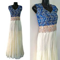 Elegant White Pearl Beaded Georgette Indian Dress Long by Jywal