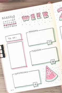 Best Watermelon Bullet Journal Spreads For 2020 - Crazy Laura - ❀bullet journa. Best Watermelon Bullet Journal Spreads For 2020 – Crazy Laura – ❀bullet journal ideen❀ – Bullet Journal Spreads, Bullet Journal Headers, Bullet Journal Lettering Ideas, Bullet Journal Banner, Bullet Journal Notebook, Bullet Journal Ideas Pages, Bullet Journal Layout, Book Journal, Journal Prompts