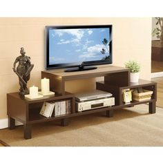 Simplify your home entertainment area with this Modern 60-inch TV Stand with Audio Video Media Storage Shelves. This TV console accentuates your furnishings wit