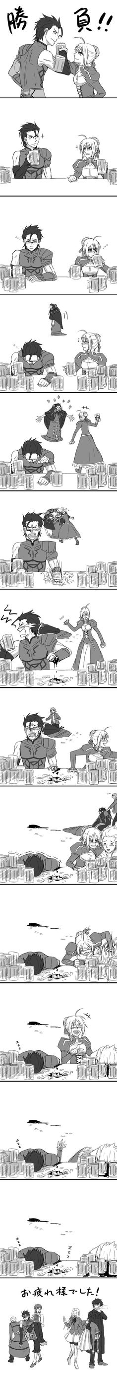 Although, I doubt Saber would stoop so low as to get drunk, this is exactly how she would act if she did get drunk.
