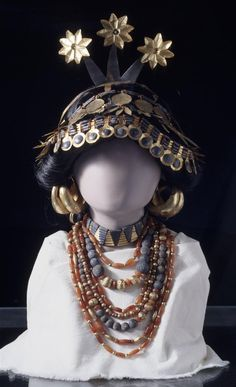 Headdress and necklaces worn by one of the female attendants buried in the Royal Tombs of Ur.