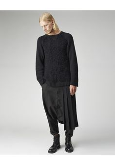 Pleated Wrap Skirt by Yohji Yamamoto.  From the men's collection; unisex pleated kilt that is open at one side with an adjustable, belted waist.  Worn with / Yohji Yamamoto Raglan Sleeve Pullover, Comme des Garçons Shirt Man Drop Crotch Pants & Common Projects Combat Boot.