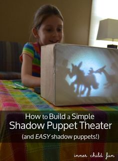 Build a Simple Shadow Puppet Theater & EASY shadow puppets -- great for when the power goes out! What are your favorite open-ended play ideas for the kids? #parenting #creativePlay