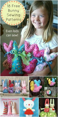 18 free bunny sewing patterns including the templates.  These are so cute and looks like kids can help sew. Perfect for easter or a quick stuffed animal gift.
