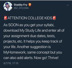 Study Tips For High School, High School Hacks, College Life Hacks, Life Hacks For School, College Tips, Freshman Tips, Study College, College Ready, Education College