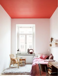Why not repaint your ceiling with COTY- Coral Radiance.  Remake the look of the house by adding a shade on the ceiling.