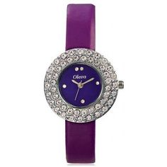 Oleva Ladies Leather Watch with Genuine Leather Strap OLW-16 PURPLE A stylish leather wrist watch with matching strap and dial color . Perfect for Office, Evening or Casual wear Display: Analog Ideal For: Girls and Womens Feature:Water Resistant Occasion: CasualBody Features Strap Material: Leather Strap Color:Purple Case Material: Metal Alloy Case Color:Silver Dial Color:Purple Dial Shape: Round  https://play.google.com/store/apps/details?id=com.womensdeals.womensdeals
