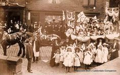 Coronation celebrations outside Fred Standevens Newsagents shop at 3 Milner Place, Luddenden Foot, taken in 1911.