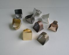 9 Brass Plated Square Pad Ring bases / by GirlySuppliesDeJaVu, $15.00