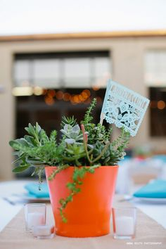 Love the cute papel picado flags integrated into the centerpiece! Mexican Wedding Centerpieces, Wedding Decorations, Wedding Planner, Destination Wedding, People Getting Married, Personalized Banners, Paper Banners, Custom Tissue Paper, Topper