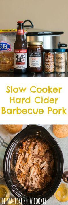 Slow Cooker Hard Cider Barbecue Pork #pulledpork #crockpot #hardcider