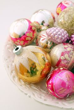 vintage Christmas ornaments - one can NEVER have enough.
