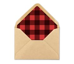 Printable Plaid Envelope Liner. Red Buffalo plaid by BlushedDesign