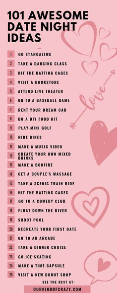 Looking for exciting, fun or cute date ideas? Here are 101 date night ideas for . - Looking for exciting, fun or cute date ideas? Here are 101 date night ideas for couples. Great date - Creative Date Night Ideas, Great Date Ideas, Romantic Date Night Ideas, Date Ideas For New Couples, Winter Date Ideas, Romantic Surprise, Fun Ideas, Ideas For First Dates, Date Ideas Near Me