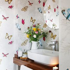 Farfalla Wallpaper, by Nina Campbell for the Foyer Powder Room (wood panelling on the bottom)