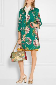 Gucci - Quilted Floral-print Cotton-blend Coat - Jade - IT