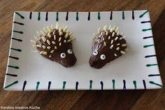 Kerstins kreative Küche: Schoko-Igel, Schokoladen Igel aus Birnen, perfekt für den Kindergarten oder für den Kindergeburtstag