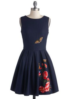 Beautiful detailing that looks almost handmade and more of a unique vintage store find than a modern day dress. I imagine walking through a garden party in Sweden and drinking a nice cold beer. Garden Dreaming Dress, #ModCloth