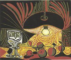 """Nature morte sous la lampe , 1962. linocut in four colors on Arches paper, 24-1/2"""" x 29-5/8"""" (62.2 cm x 75.2 cm), sheet size20-7/8"""" x 25-1/8"""" (53 cm x 63.8 cm), image size."""