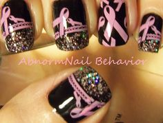 Breast cancer support nail art  -Mammograms save lives .- a.l.