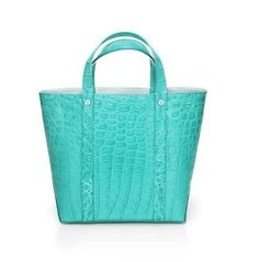 be66d8421 Laurelton top handle bag in Tiffany Blue ® crocodile | Tiffany & Co | Tiffany  blue, Blue bags, Tiffany
