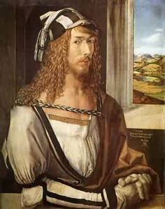 Self Portrait At 26, 1498 by Albrecht Dürer. He was the first artist to have published the first known perspective drawing of Earth as a globe in 1515.