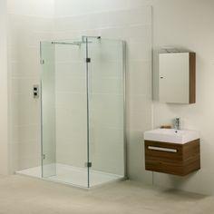 Aquadart Inline Open Side Fixed Panel Walk In Shower Enclosure