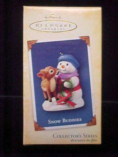 Hallmark Christmas Ornament Snow Buddies 7th Series Snowman Fawn 2004 w Card | eBay